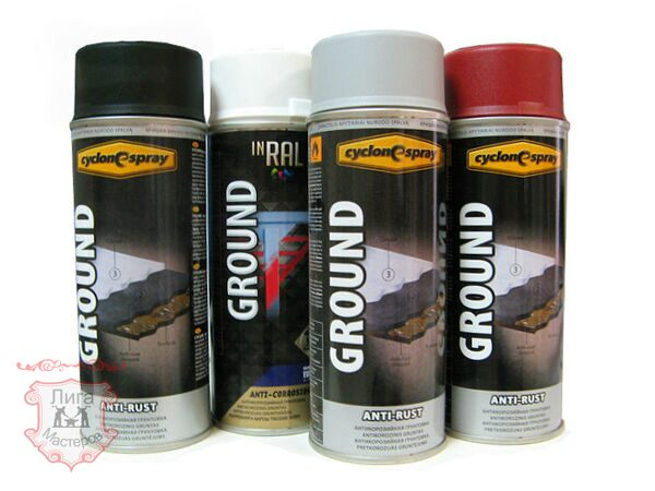 Эмаль CYCLONE Spray GROUND Anti-Rust, 400мл, бел., крас., сер., чёр.